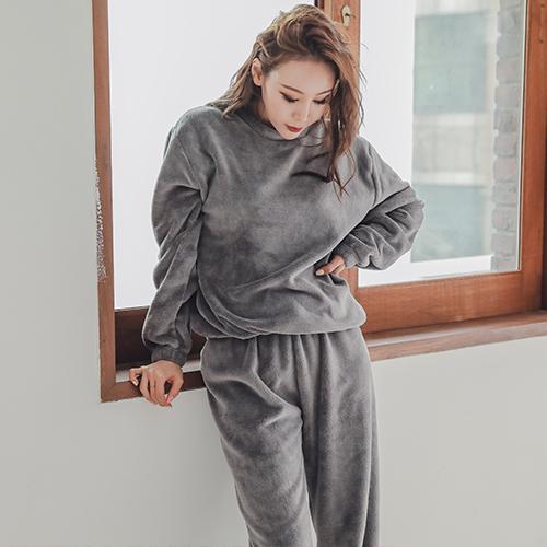 글램공감 여성용 포그니 융털 투피스 수면잠옷
