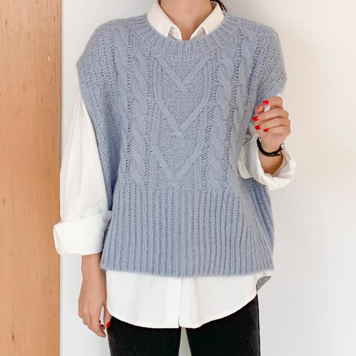 아미 여성용 리피조끼 하트모양 꽈배기 케이블 소프트 크롭 니트 조끼