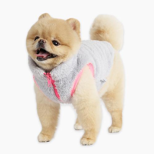 이츠독 네온 다우니 베스트 강아지 의류, 그레이