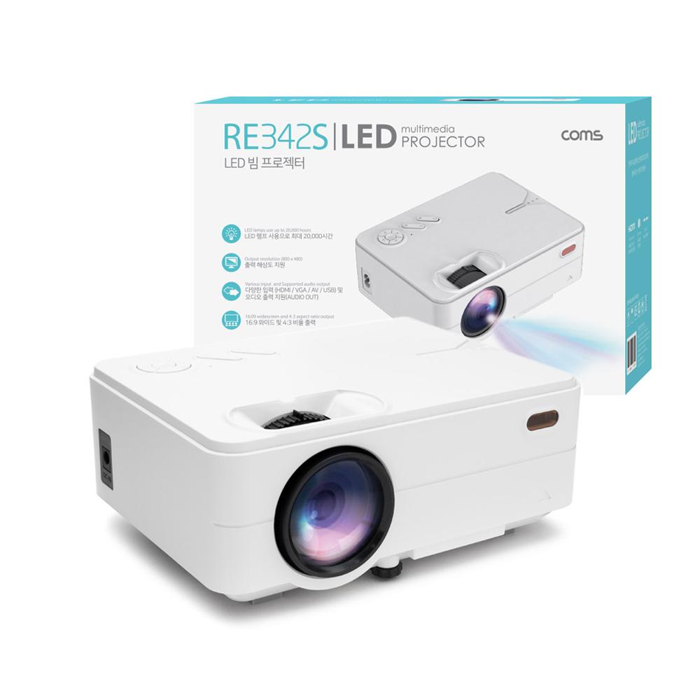 Coms LED 미니 빔프로젝터 1500루멘 화이트 RE342S