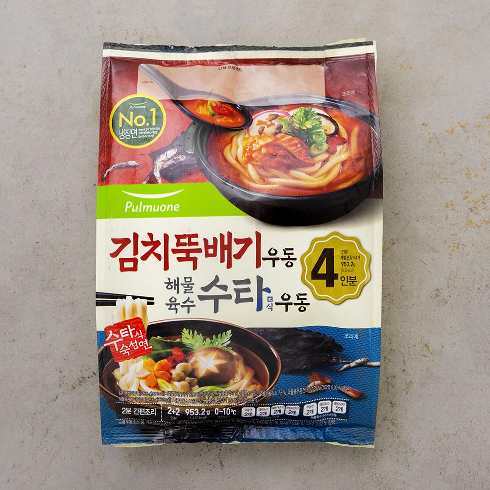 풀무원 김치뚝배기우동 2인 + 해물육수수타식우동 2인, 953.2g, 1개