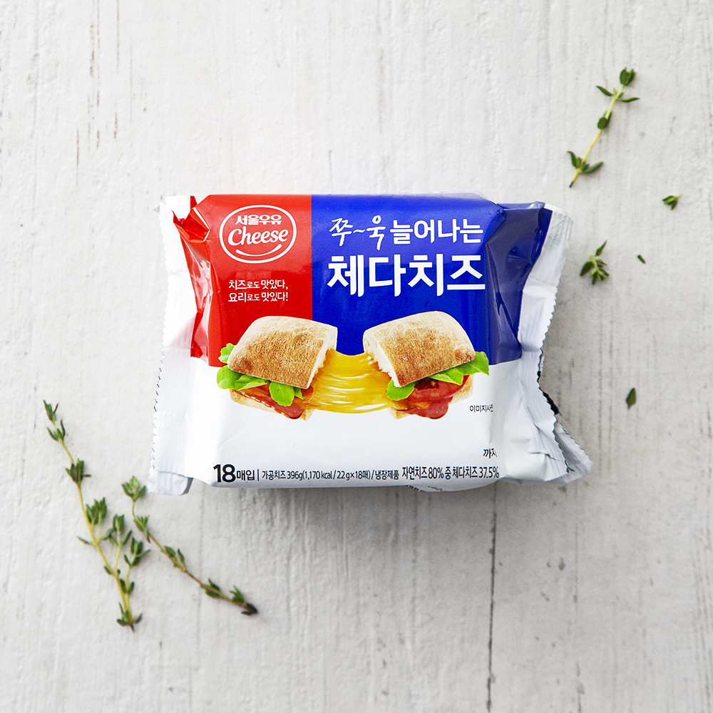 서울우유치즈 쭈욱 늘어나는 체다치즈, 22g, 18매