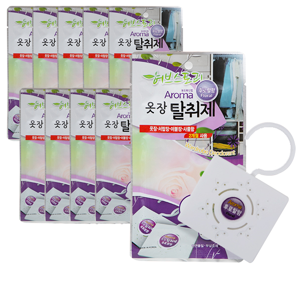 허브스토리 아로마 옷장탈취제 후로랄향, 22g, 10개