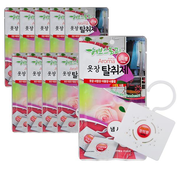 허브스토리 아로마 옷장탈취제 장미향, 22g, 10개