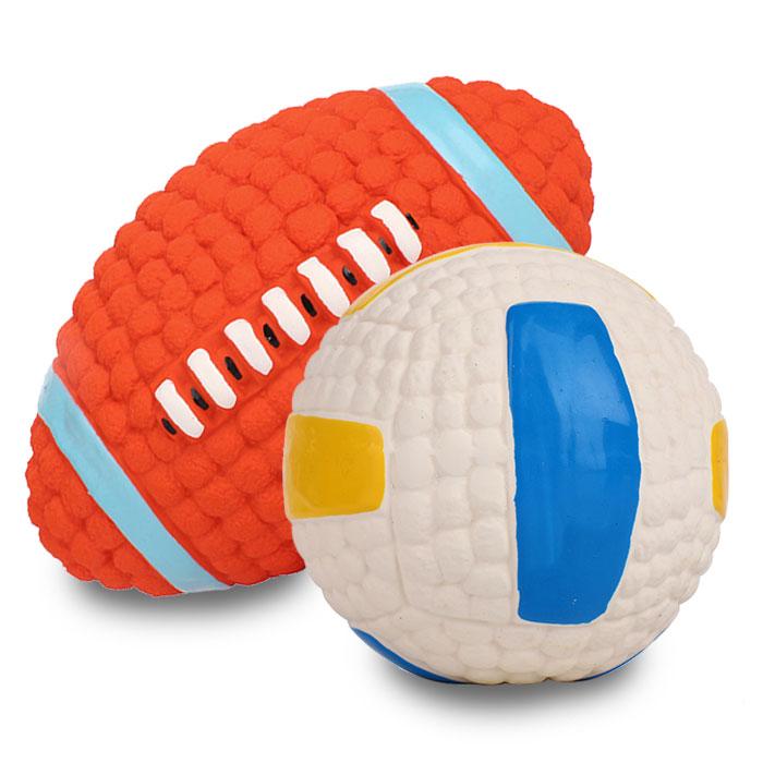 딩동펫 반려동물 라텍스 스포츠볼 럭비 14cm + 배구공 9.5cm 세트, 혼합 색상, 1세트