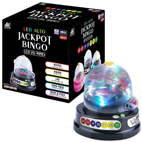 애들랜드 LED 전동 잭팟빙고 게임기 대 150 x 150 x 145 mm, 혼합 색상