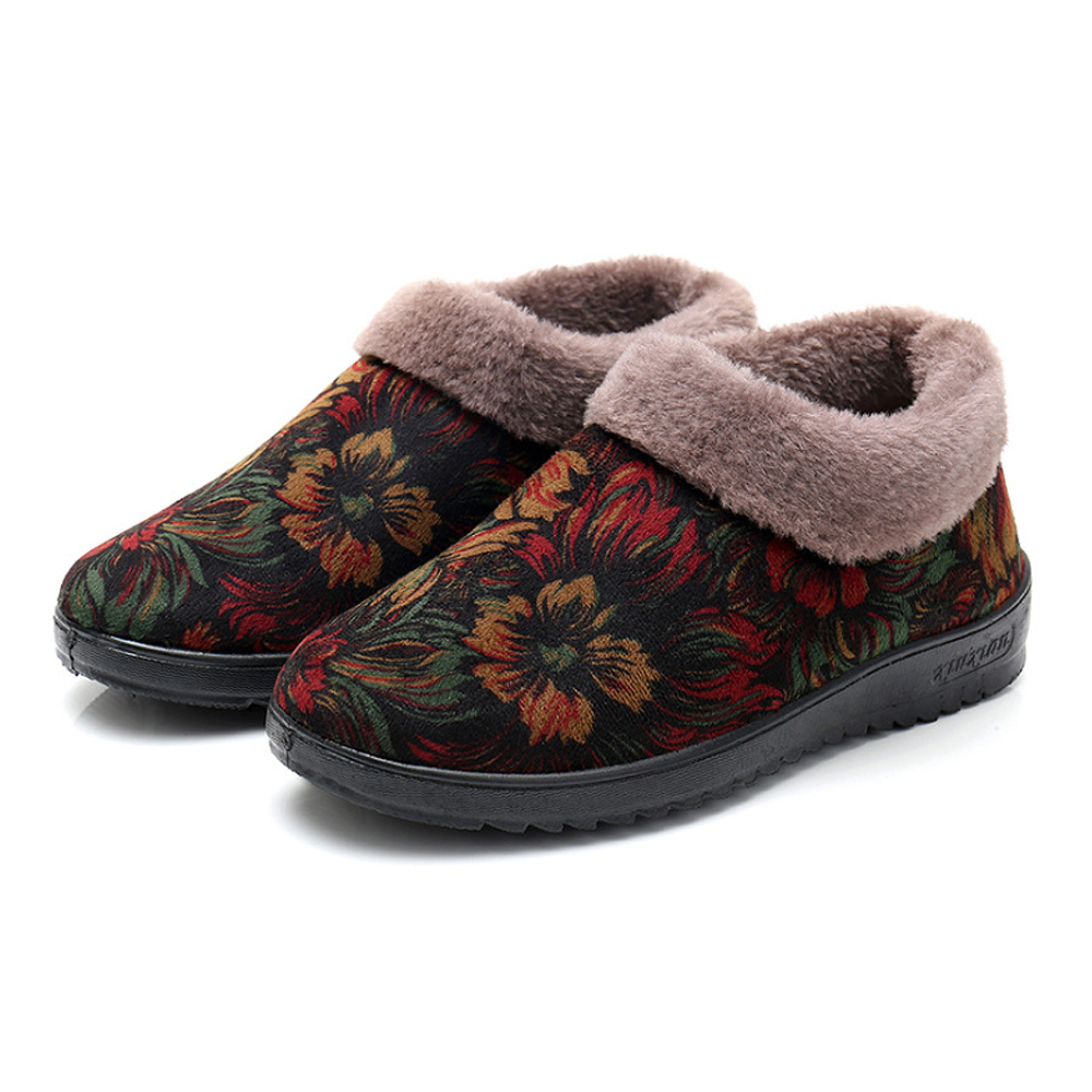 여성용 플라워 겨울 방한 신발