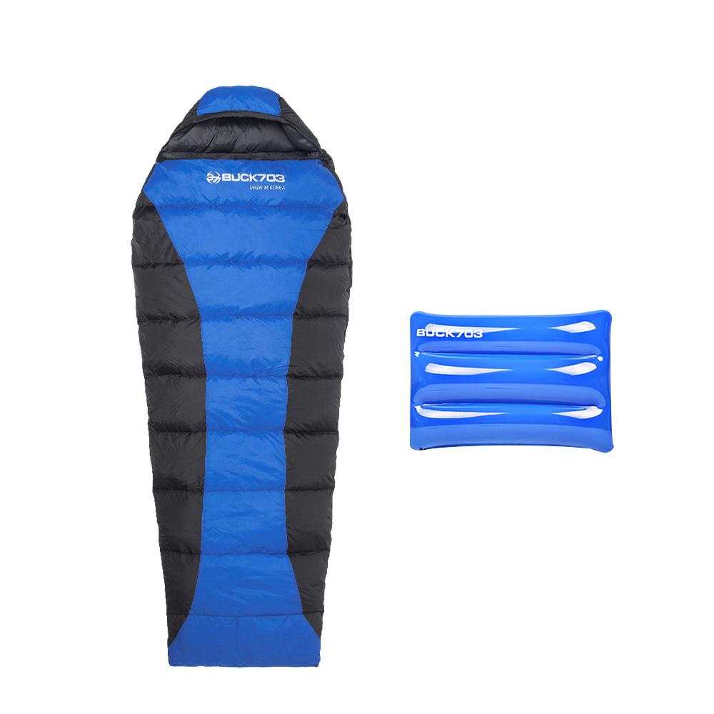 벅703 인조털침낭 XL + 고급 에어베개, 블루, 1세트