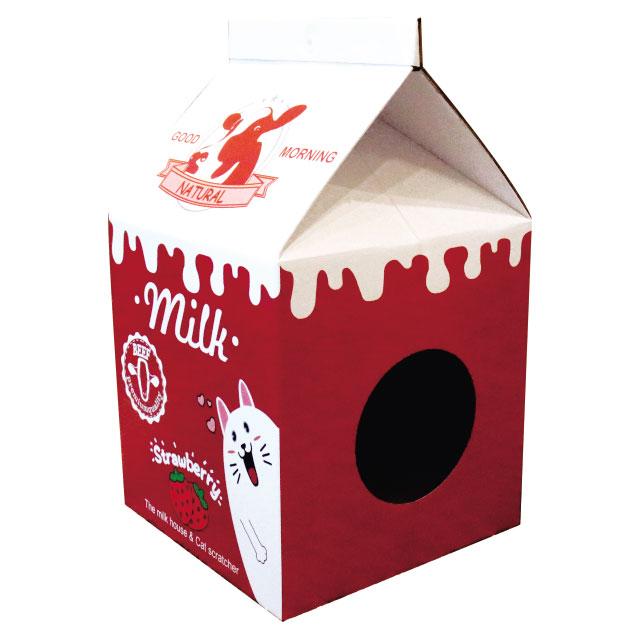 리스펫 고양이 우유 스크래쳐 숨숨집 하드하우스, 딸기