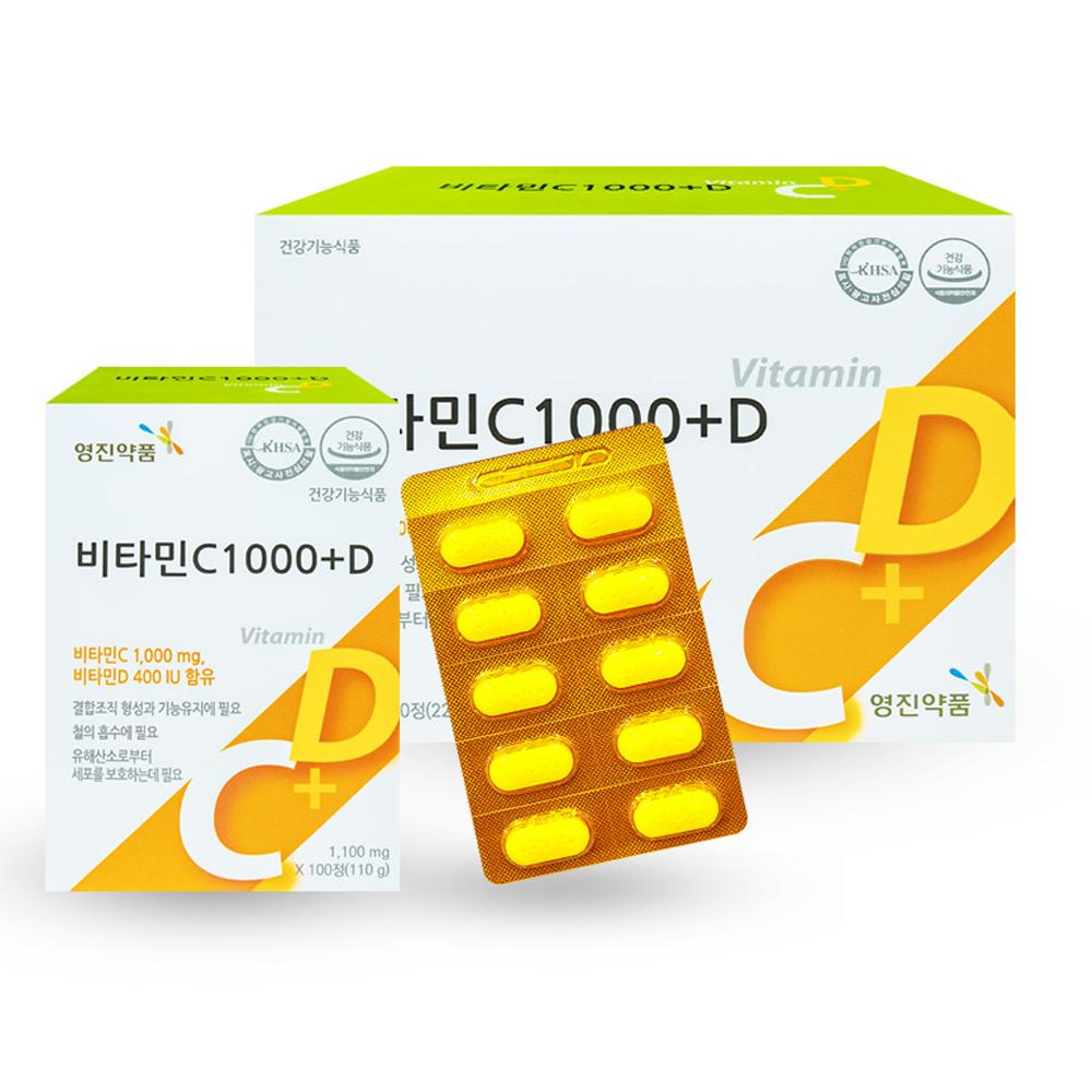 영진약품 비타민C 1000플러스D 비타민D, 100정, 2개
