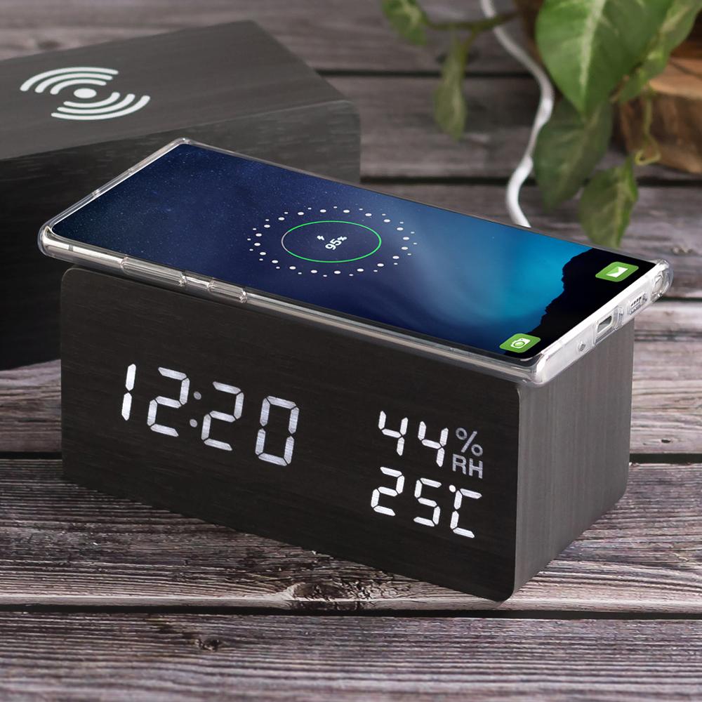 플라이토 우드 LED 온습도 휴대폰 무선충전 LED 탁상시계 + USB 어댑터, 블랙