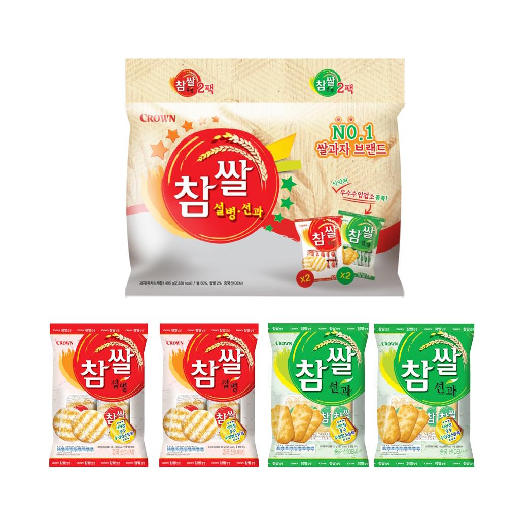 크라운 참쌀 설병 128g x 2p + 선과 115g x 2p 세트, 1세트