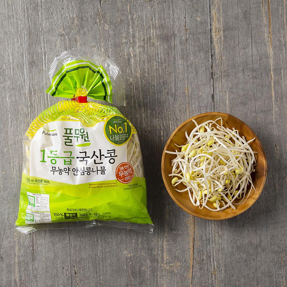 풀무원 1등급 국산 무농약 콩나물, 340g, 1개