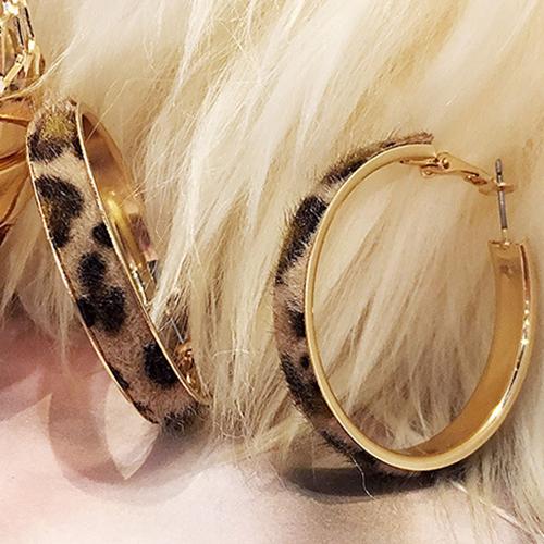 더플로우컴퍼니 여성용 호피무늬 패턴 링 귀걸이 5cm