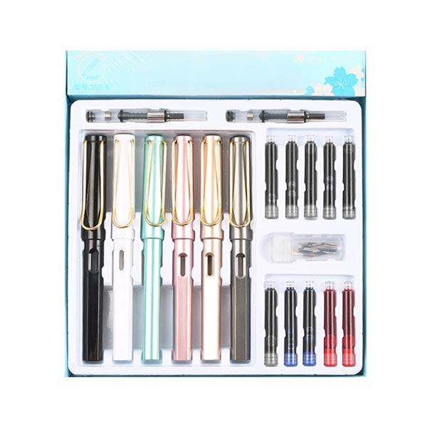 컬러 만년필 6종 + 잉크흡수기 2p + 리필잉크 10p + 펜촉 6p 세트, EF, 스틸파스텔