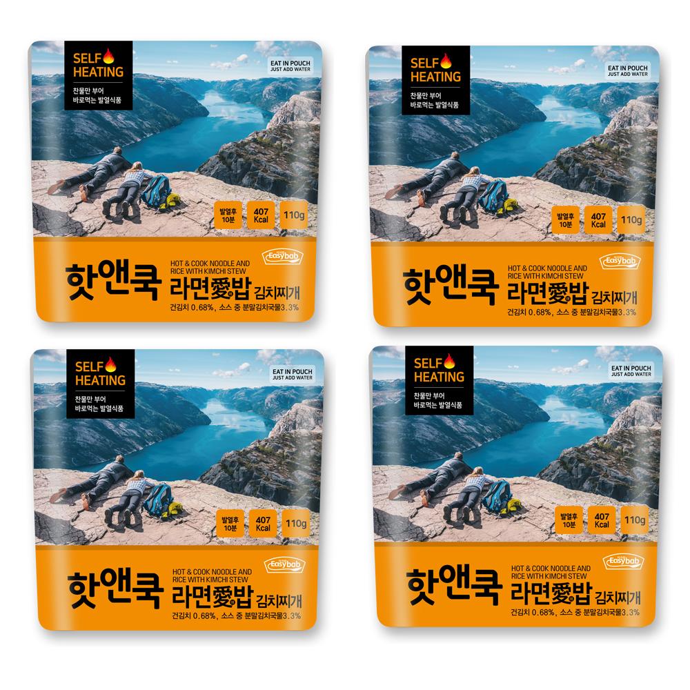 이지밥 핫앤쿡 라면애밥 김치찌개, 110g, 4개