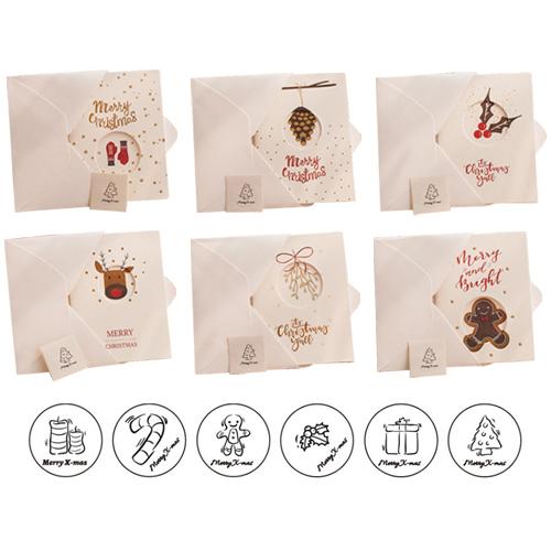 도나앤데코 마야 크리스마스 카드 + 크라프트 봉투 + 스티커 세트, 카드(랜덤 발송), 스티커(랜덤 발송), 봉투(화이트), 10세트