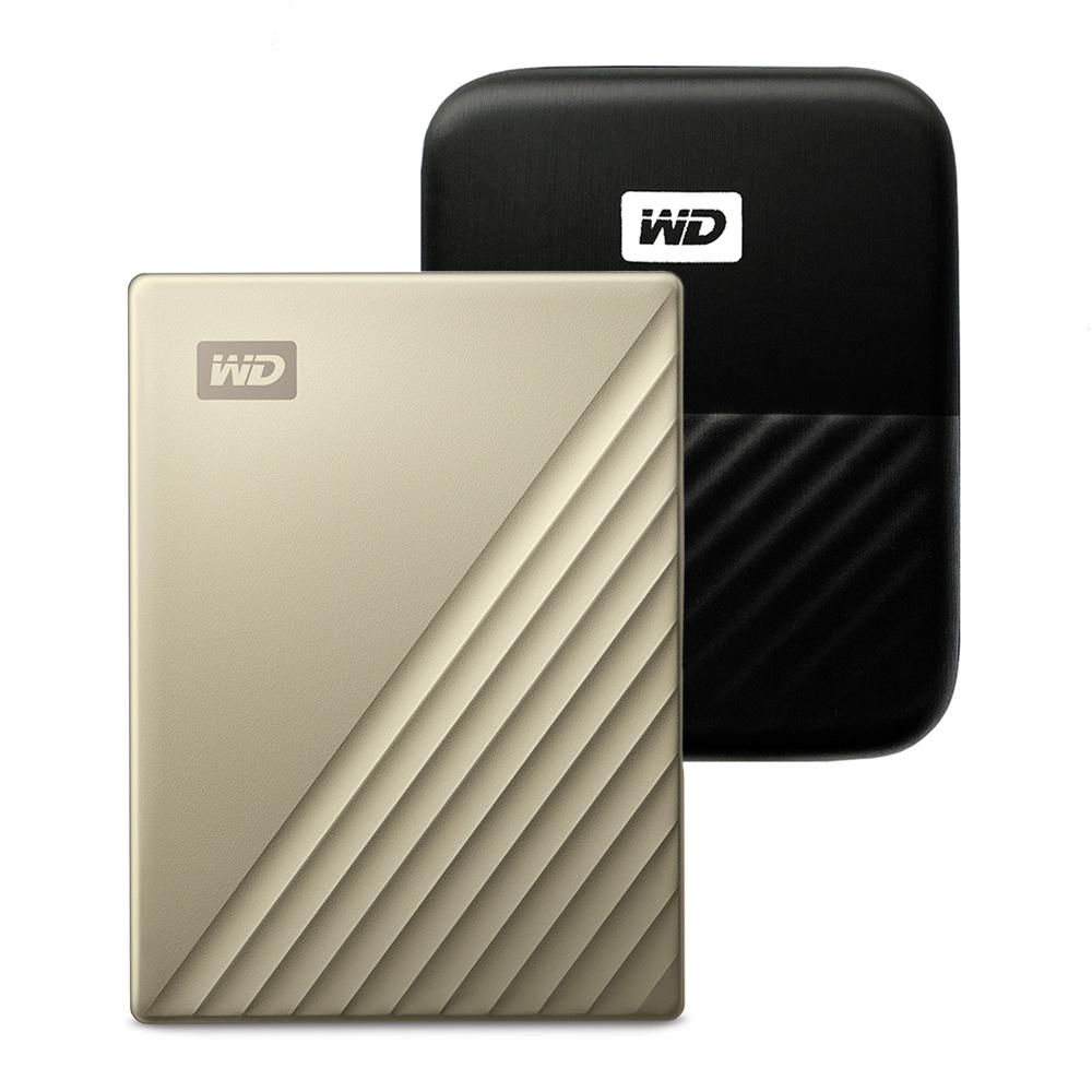 WD My Passport Ultra Type C 휴대용 외장하드 + 파우치, 2TB, 골드