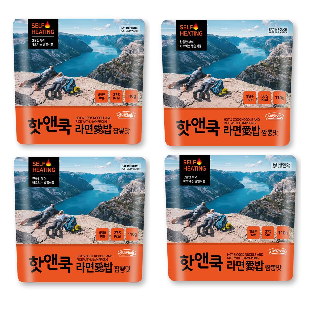 이지밥 핫앤쿡 라면애밥 짬뽕맛, 110g, 4개