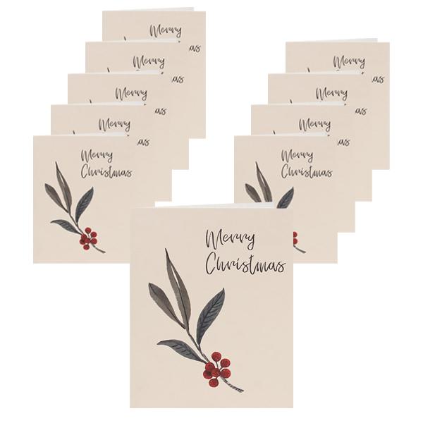홀리 성탄 카드 9 x 11 cm + 카드 봉투 세트, 카드(혼합 색상), 봉투(랜덤 발송), 10세트