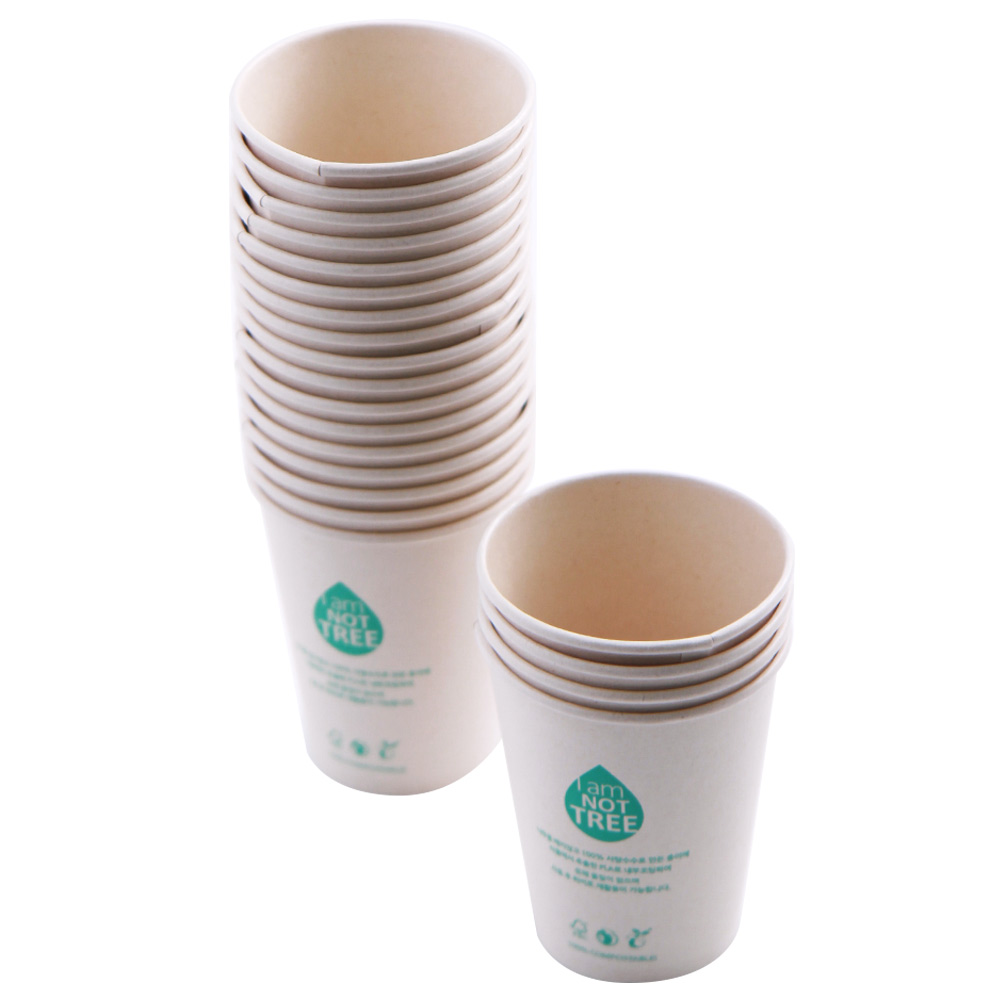 PLA 코팅 사탕수수 종이컵 360ml, 50개입, 1개