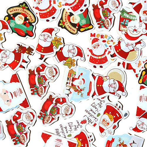 크리스마스 선물포장 데코스티커 산타 48종세트, 혼합 색상, 4세트