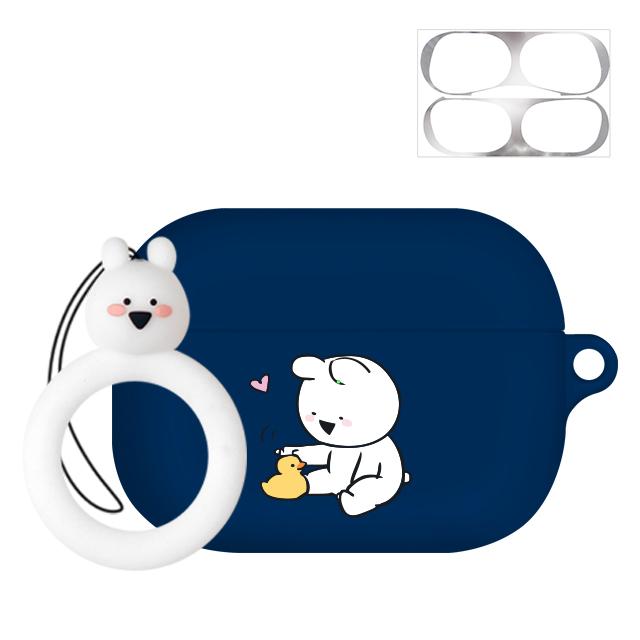 오버액션 링링 핑거링 에어팟프로 이어폰 케이스 + 철가루 방지 스티커, 단일 상품, 프렌즈덕