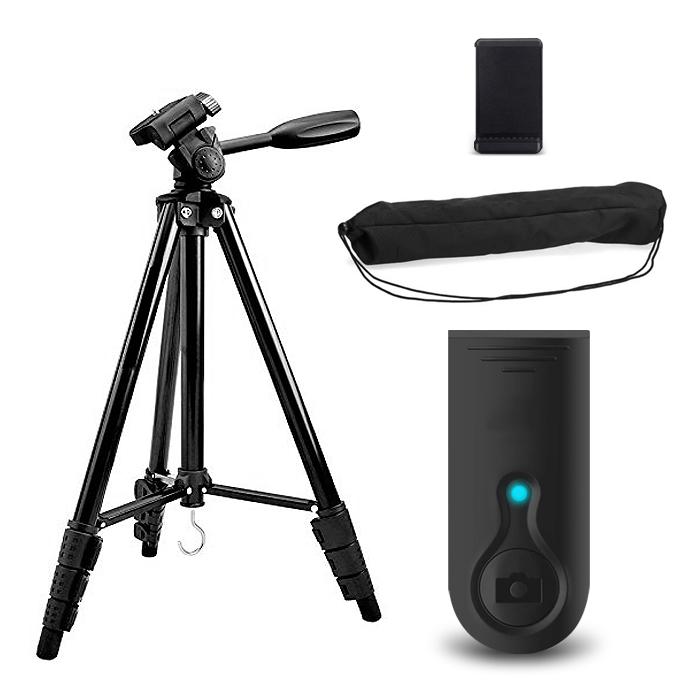 디씨네트워크 프리미엄 4단 삼각대 스마트폰 카메라겸용 + 요고 블루투스 리모컨, DC-T1, 블랙