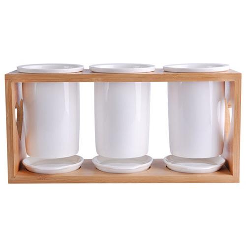 푸코 하트 우드 받침 도자기 수저통 3구, 혼합 색상, 1개