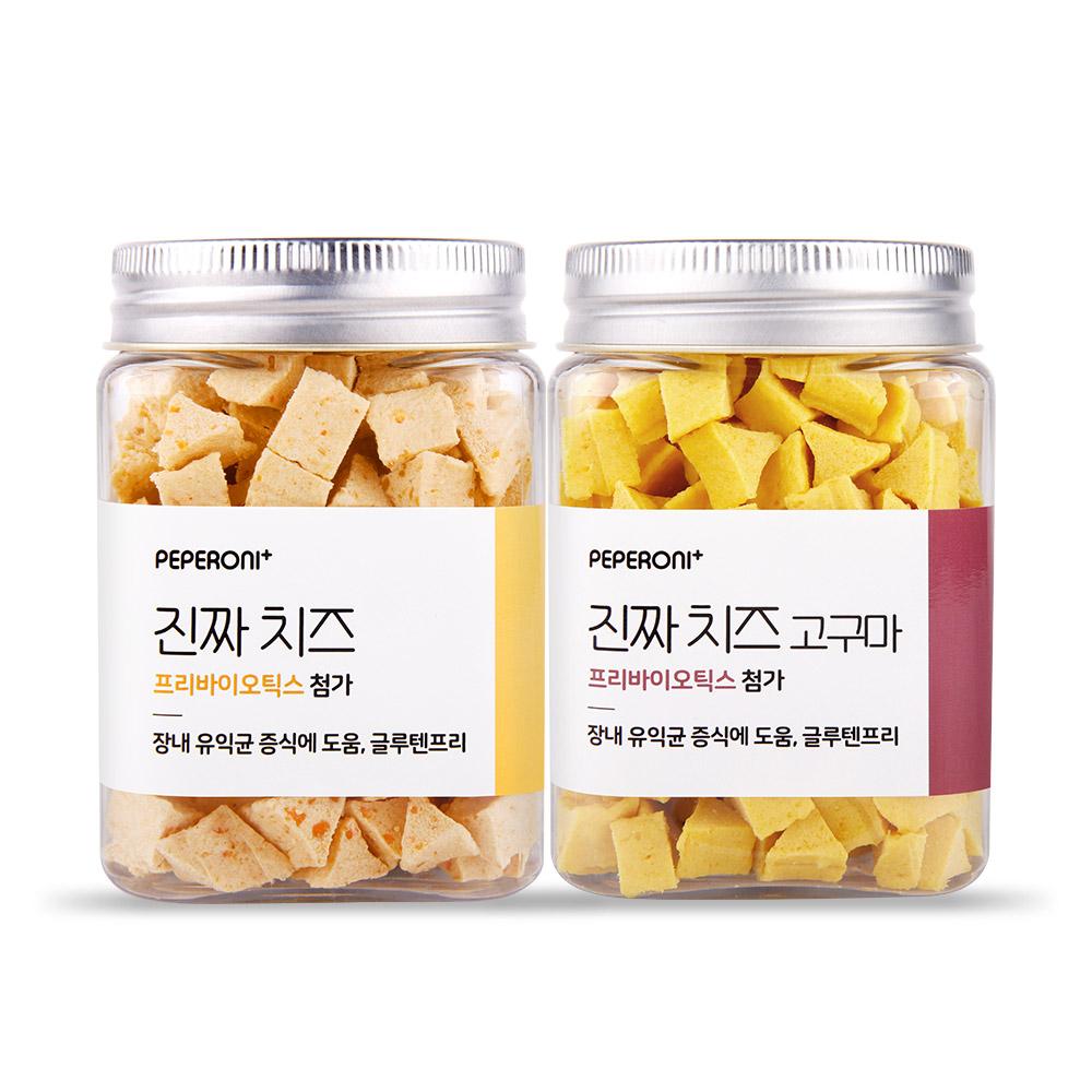 [반려동물용품] 페페로니 프리바이오틱스 반려동물 간식 2종 세트, 치즈, 치즈 + 고구마 혼합맛, 1세트 - 랭킹79위 (12000원)