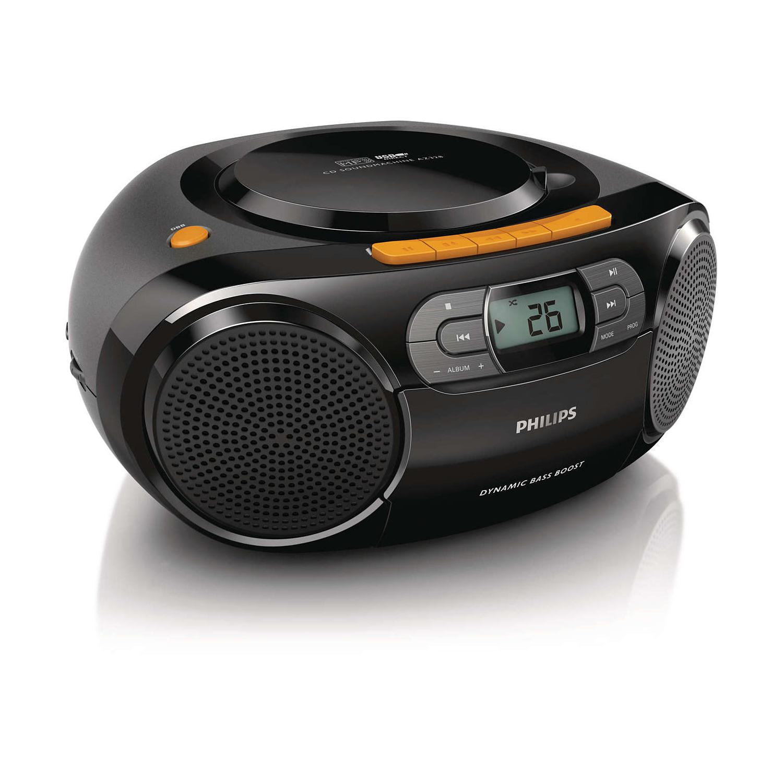 필립스 라디오 카세트 CD 플레이어, 블랙, AZ388/61