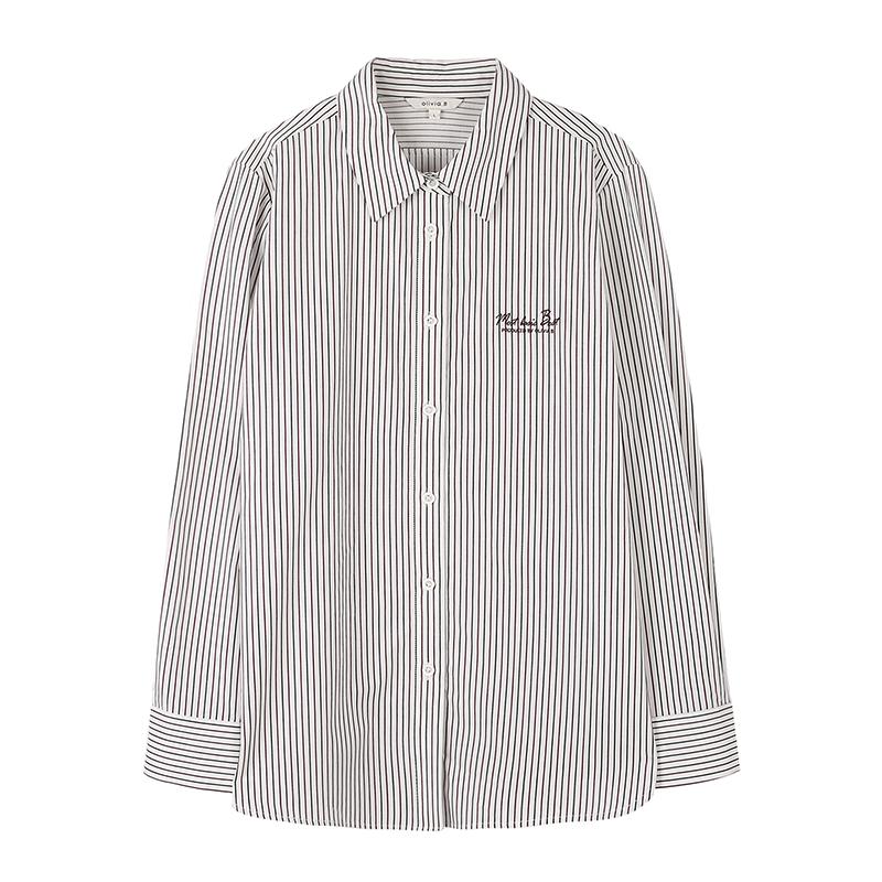 올리비아비 여성용 프리미엄 그린와인 스트라이프 셔츠 VBCNLVF8151