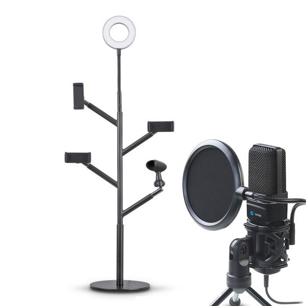 지군 개인방송장비 풀세트, G-GOON VM700(마이크), GLS-5100(조명 촬영 스탠드)