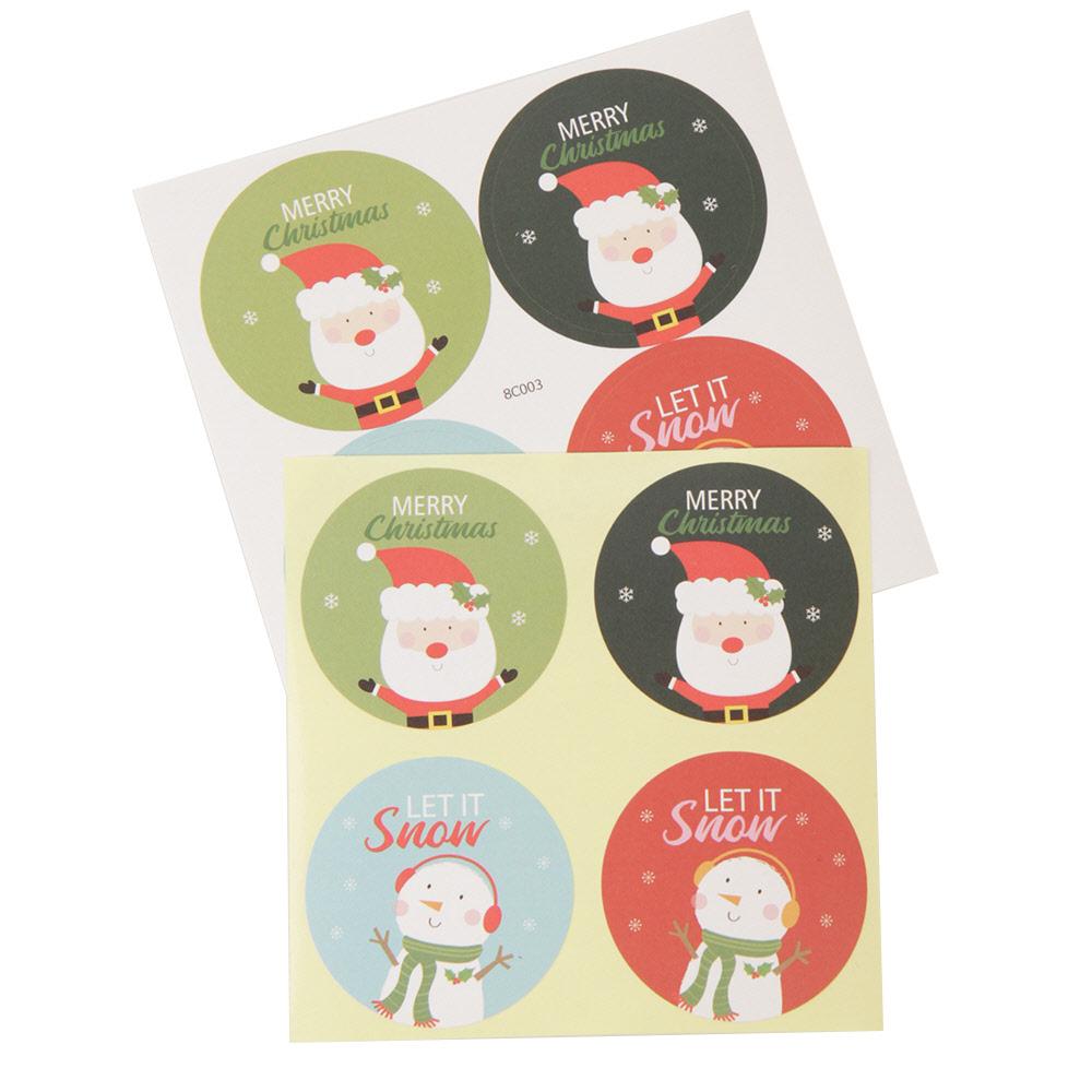 크리스마스 산타눈사람카드 원형 스티커 8C003, 랜덤 발송, 80개