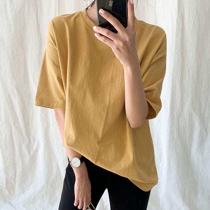 [썸머 티셔츠] 아모르데이 여성용 데일리 핏 라운드넥 기본 반팔 티셔츠 - 랭킹32위 (10900원)