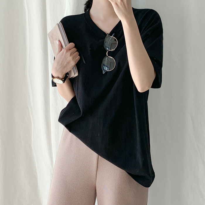 아모르데이 여성용 데일리 핏 라운드넥 기본 티셔츠