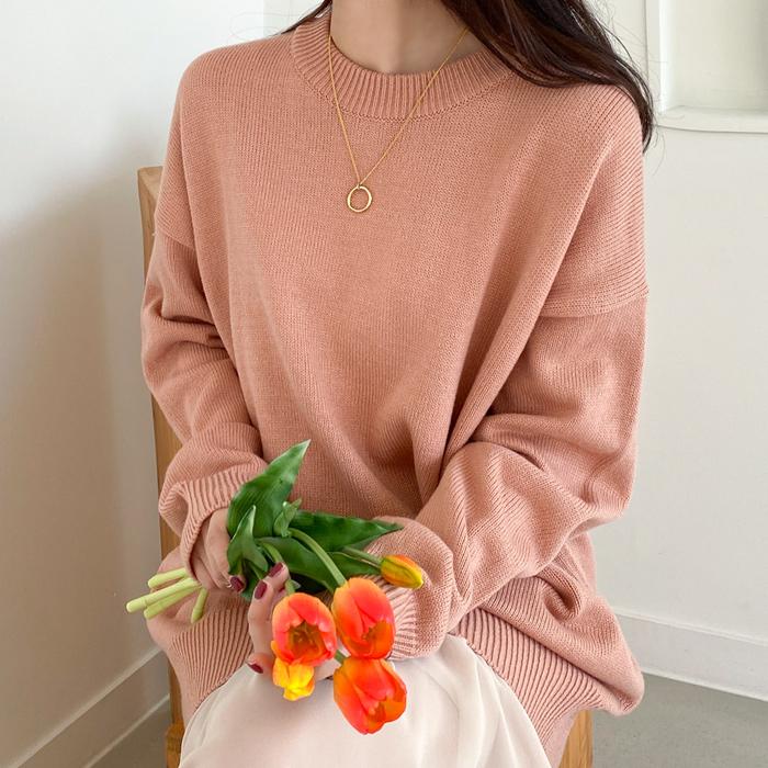 아모르데이 여성용 티오 루즈핏 데일리 라운드넥 스웨터