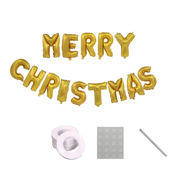 파티라이프 알루미늄 메리크리스마스 글자 풍선 가랜드 세트, 타입2(골드), 1세트