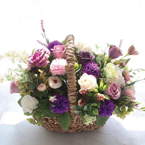 모리앤 조화 소피아 비누 꽃 바구니, 혼합 색상