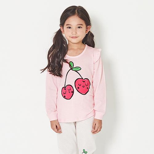 유니프랜드 아동용 핑크체리 오가닉 쟈가드 9부내의 상하 세트