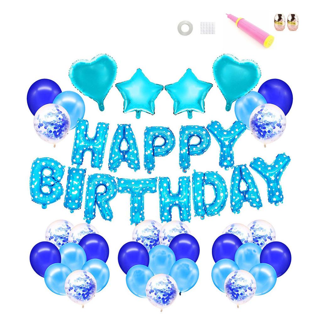 스타 하트 생일 가랜드 블루스팽글 풍선세트, 혼합 색상, 1세트