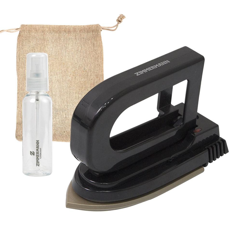 짐머만 핸디형 휴대용 미니 다리미 + 분무기 + 파우치 세트, ZIM-2401B, 혼합 색상