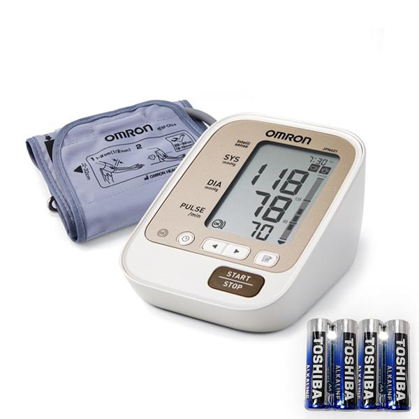 오므론 자동 전자 혈압계 JPN601 + AA 건전지 4p 세트, 1세트
