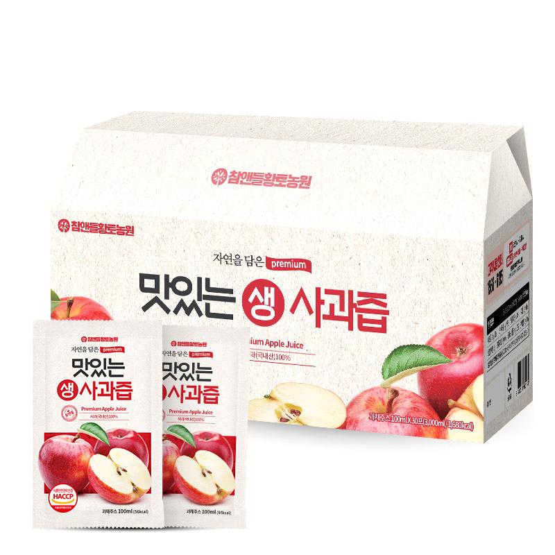 참앤들황토농원 맛있는 생 사과즙, 100ml, 30개