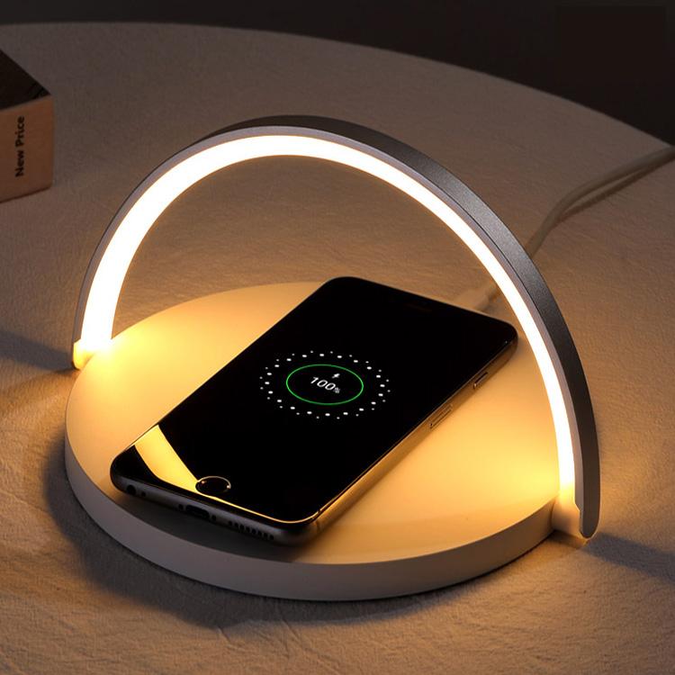유엠투 LED 무드등 조명 10W 고속 무선 충전기 Qi10W, 화이트, 1개