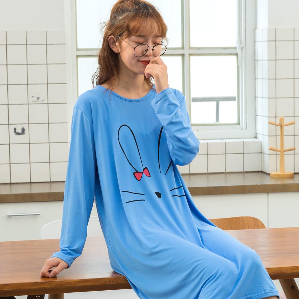 여성용 러블리 래빗 피치기모 원피스 잠옷