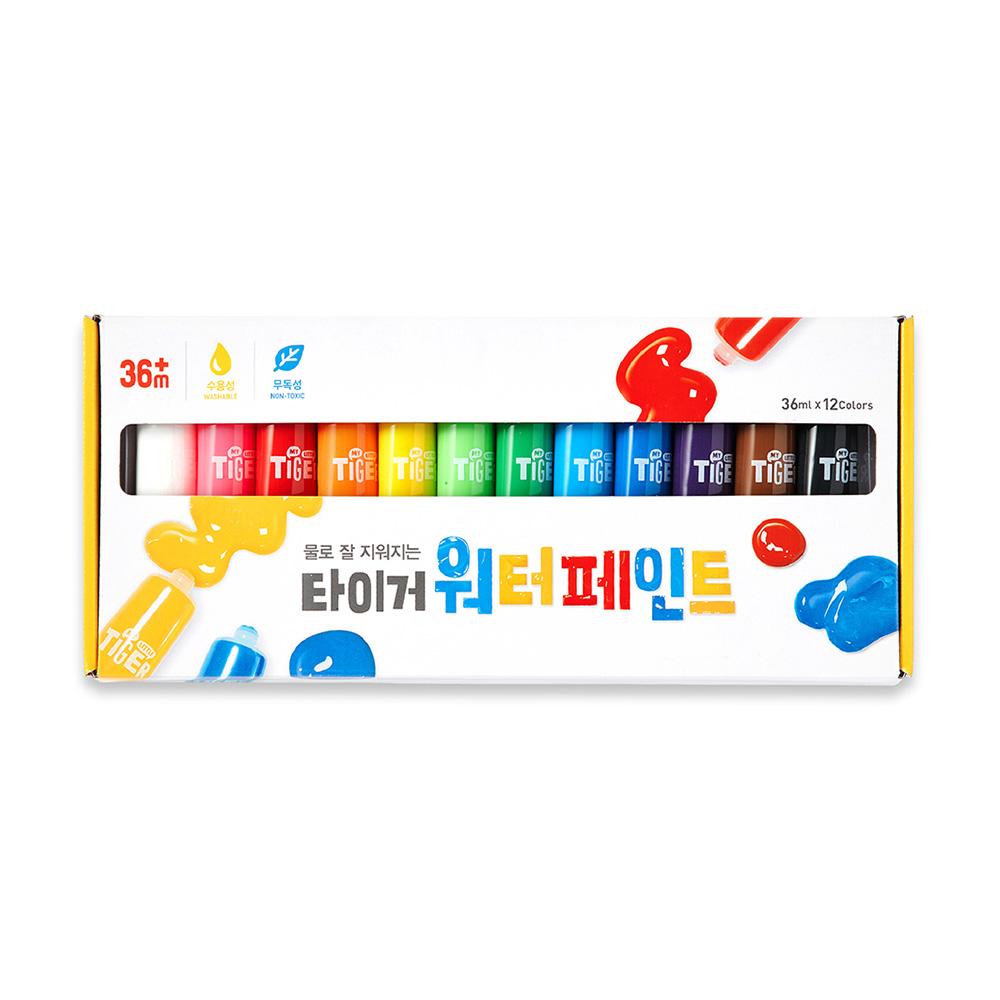 마이리틀타이거 워터 페인트 유아용 퍼포먼스 물감, 36ml, 12색