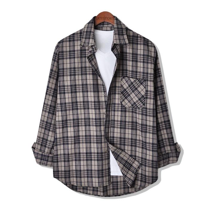 가이스토리 남성용 토트넘 오버핏 긴팔 체크셔츠