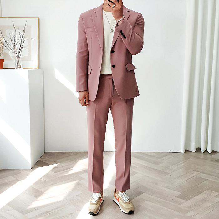 머시따 남성용 럭스 컬러풀 수트 세트, 핑크