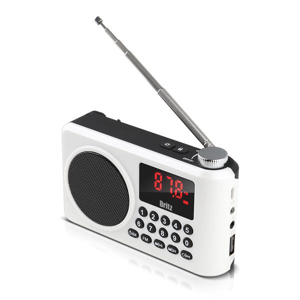 브리츠 휴대용 FM라디오 블루투스 스피커 BZ-LV990, 화이트